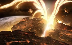 Космос: арт, космос, планета, корабль, разлом, разрушение, лава, энергия, взрыв, обломки, реки, лес, ландшафт, поверхность