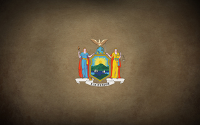 Минимализм: Флаг штата Нью-Йорк, герб, нью йорк, америка, штат, флаг