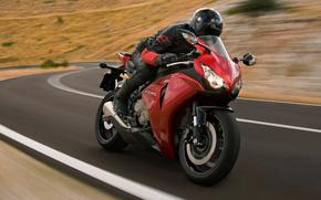 Мотоциклы: Honda, CBR1000rr, cbr, мотоцикл, дорога, мотоциклист, шлем, скорость, автомобили, машины, авто