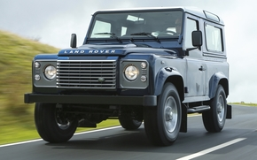 Машины: Ленд Ровер, Дефендер, джип, внедорожник, передок, синий, дорога, небо, Land Rover