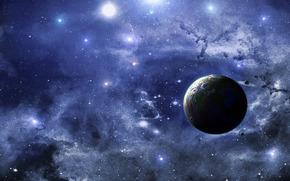Космос: планета, спутники, небо, живопись
