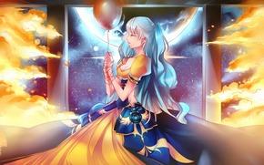 Аниме: арт, девушка, воздушный шарик, нить, огонь, колонны, луна