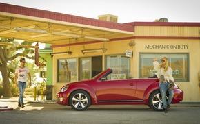 Машины: volkswagen, beetle, convertible, 2013, cars