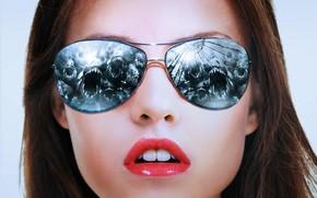 ����������: danielle panabaker, american actress, piranha movie, sunglasses, lips