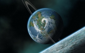 Космос: Спутник, луна, атмосфера, облака, циклон, море, вода