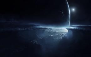 Космос: арт, планета, спутник, небо, атмосфера, облака, ночь, высота