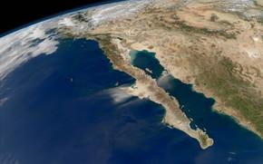 Космос: Зкмля, планета, Калифорния, Мексика, Тихий океан