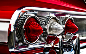 Машины: шевроле, импала, красная, фары, задние огни, хромированные детали, отражение, Chevrolet