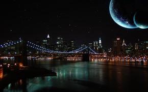 Город: ночь, небо, луна, река, мост