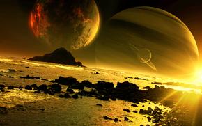 Космос: арт, qauz, планета, спутники, закат, море, скалы