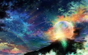 Космос: арт, tsujiki, планета, ночь, звезды, облака, радуга