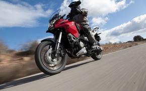 Мотоциклы: мото, дорога, honda, асфальт, люди, небо, красная, moto, road, asphalt, people, sky, red