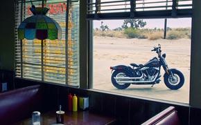 Мотоциклы: harley-davidson, кафе, вид, окно, стол, люстра