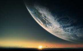 Космос: Закат, горизонт, море, птицы, планета