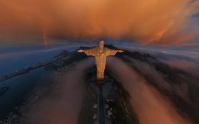 Город: Рио-де-Жанейро, город, Статуя Христа Искупителя, радуга, облака, восход