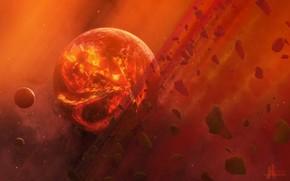Космос: арт, космос, планета, камни, метеориты, лава, жар