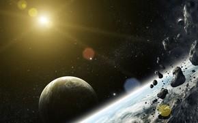 Космос: арт, космос, планеты, метеориты, камни, звезда