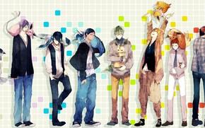 Аниме: арт, аниме, баскетбол куроко, парни, звери, кеды, джинсы, свитер, галстук, рубашка, кулон