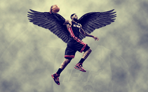 Спорт: lebron james, miami heat, крылья, sky, баскетбол