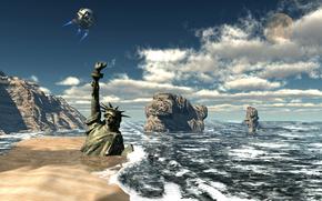 Космос: море, берег, статуя свободы, спутник