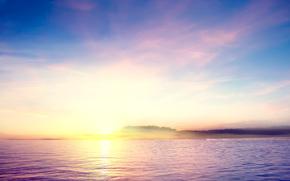 Природа: озеро, островок, закат, вода