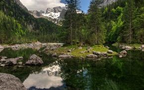 Пейзажи: горы, озеро, островок, деревья, пейзаж