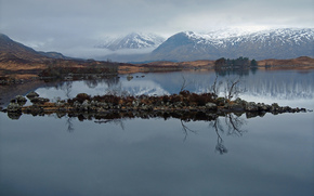 Пейзажи: горы, вершины, снежные, озеро, островок, гладь воды, отражение