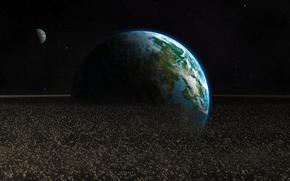Космос: арт, астероиды, планета, обломки, камни, Земля, космос