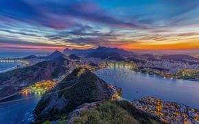 Город: rio de janeiro, br, панорамма, Рио-де-Жанейро, город, закат, канатная дорога, океан, горы, дома, бухта, яхты,