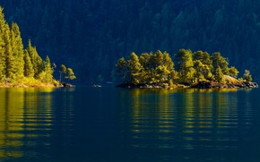 Пейзажи: cowichan lake, vancouver island, canada, озеро Кауичан, остров Ванкувер, Канада, островок, лес, деревья, вода, озеро