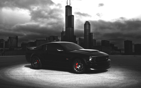 Машины: форд, мустанг, америка, ford, mustang, gt, black, city, chicago, shelby, landscape, auto, albania, wallpaper, blur, car, muscle, american,
