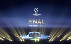 Игры: лига чемпионов, событие, ночь, футбол, стадион, эмблема, финал, обои