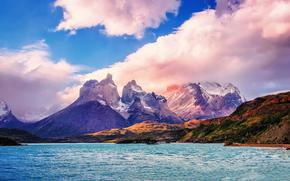 Пейзажи: Южная Америка, Чили, Национальный парк Торрес-дель-Пайне, Патагония, Lake Peho?, горы, облака, небо