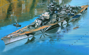 Корабли: Tirpitz, Тирпиц, battleship, линкор, Kriegsmarine, Кригсмарине, арт