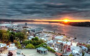 Город: Вид Реки Святого Лаврентия, северная америка, закат