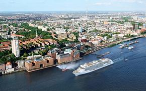 Корабли: MS Europa 2, cruise, ship, Hamburg, Harbor