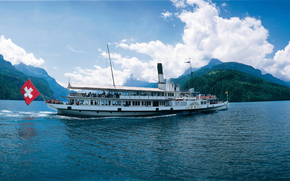 Корабли: steamboat, Uri, Lake Lucerne, Switzerland, panorama
