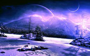 Космос: космос, 3d, art, горы, планеты, зима