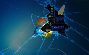 Hi-tech: windows 7, gigabyte, стекло, разбит, экран