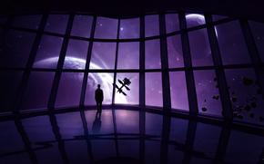 Космос: корабль, человек, камни, станция, астероиды, звезды, планеты, метеориты, космос