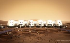 Космос: Марс, астронавты, марсоход, камни, грунт, модули