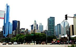 Город: движение, высотки, здания, америка, чикаго, небо, сша, люди, машины, небоскребы, улица