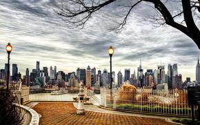 Город: дерево, город, америка, небоскребы, сша, нью йорк, осень