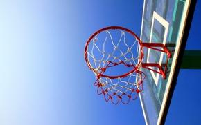 Спорт: баскетбол, небо, корзина, щит, обруч