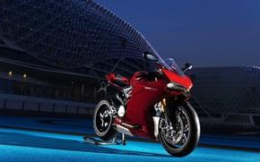 Мотоциклы: Ducatti, red, night, мото