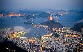 Город: огни, дома, горы, море, здания, вечер, Рио-де-Жанейро, побережье, Бразилия