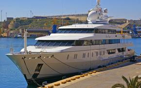 Корабли: Vijay Mallya 95-метровой суперяхты, Indian Empress, в Гранд-Харбор, Мальта