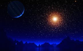 Космос: горы, озеро, звезды, вселенная, планета