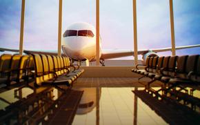 Обои Ситуации: америка, сиденья, отпуск, авиация, окно, плиты, аэропорт, отражение, вылет, пол, самолёт, путешествие, штаты, лавочки, плитка, сша, отблеск, ожидание, терминал, скамейки, широкоформатные обои, вечер, небо, красивые обои на рабочий с