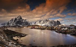 Пейзажи: горы, зима, залив, поселок, Норвегия